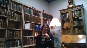 In the library at Bessistadur (the Icelandic White House)