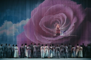 Brenda Rae (Semele) and the Seattle Opera Chorus in Handel's masterpiece Semele. © Avi Loud