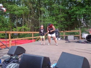 Dancing with Adra Boo onstage at Ra Scion's 2014 Doe Bay Fest set.