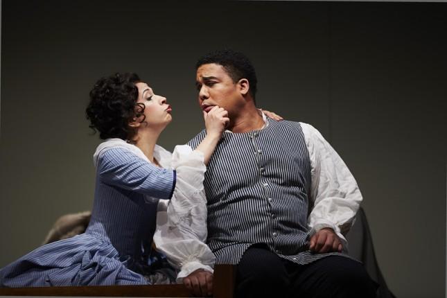 Laura Tatulescu (Susanna) and Aubrey Allicock (Figaro) in The Marriage of Figaro. Photo by Philip Newton c/o Seattle Opera